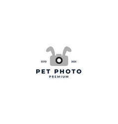 Rabbit ear with camera or photography logo design vector