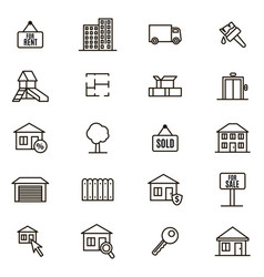 Real estate signs black thin line icon set vector