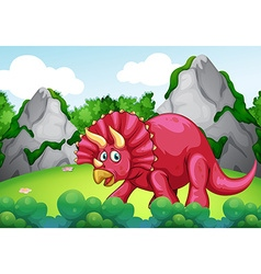 Red dinosaur in the park vector image