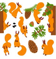 set cute cartoon furry funny squirrels vector image