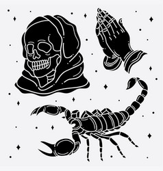set flash tattoo horror vector image