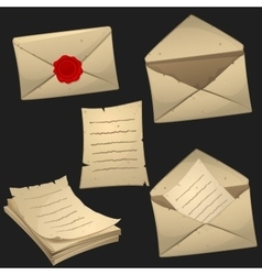 Set of paper sheets and envelopes vector image
