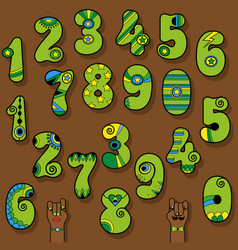 set of vintage numerals green numbers with bright vector image