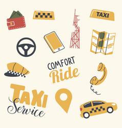 set taxi service icons driver yellow cap car vector image
