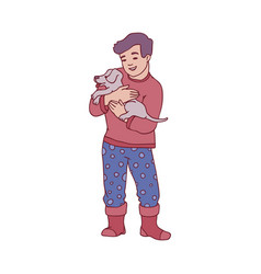 sketch boy kid holding cute puppy dog vector image