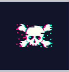 skull in trendy glitch style vector image