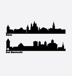 skyline two german cities duren and bad vector image