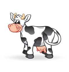 smiling cartoon cow character vector image