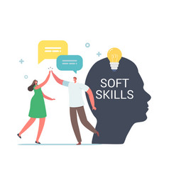 Soft skills in business concept tiny colleagues vector
