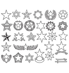 stars thin line icons set vector image
