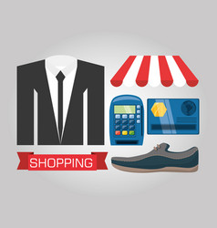 Suit shoes and payment methods shopping concept vector