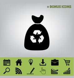 trash bag icon black icon at gray vector image