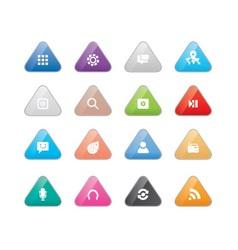 Triangular multi color web icons vector