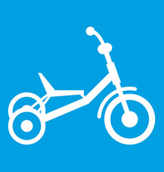 Tricycle icon white vector