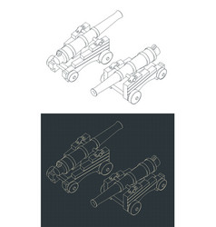Vintage naval cannon isometric drawings vector