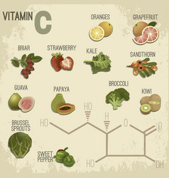 Vitamin c in food vector