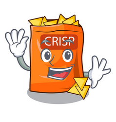 Waving crispy potato chips in bowl cartoon vector