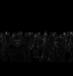 Wireframe polygonal people white lines on a vector