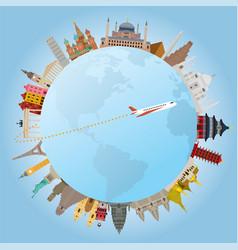 World landmarks and travel around vector