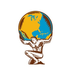 Atlas lifting globe kneeling woodcut vector
