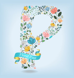 floral letter p with blue ribbon vector image vector image