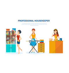 housewife kitchen bedroom engaged home affairs vector image
