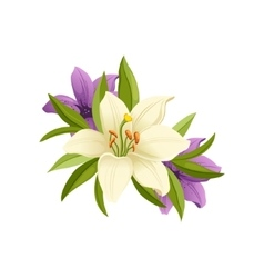 Lilies Hand Drawn Realistic vector image