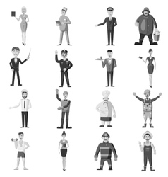 Profession icons set gray monochrome style vector image