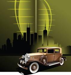 retro car in futuristic town vector image vector image
