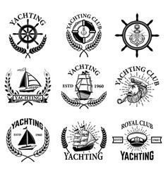 set of yachting emblems isolated on white vector image