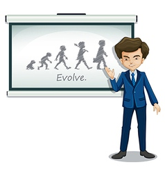 A gentleman explaining the evolution of humans vector image vector image