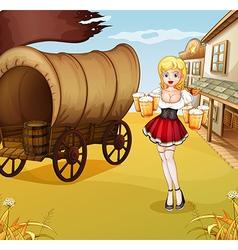 A sexy waitress beside the wagon vector image vector image