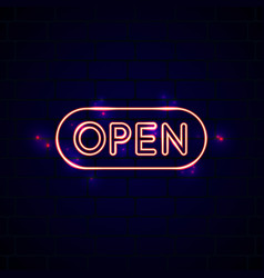 neon glowing open sign in front of the brick wall vector image