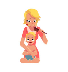 young mother combing her baby s hair half length vector image vector image