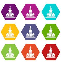church icon set color hexahedron vector image vector image