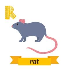 Rat R letter Cute children animal alphabet in vector image
