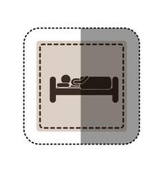 sticker monochrome square with person in bed vector image