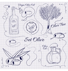 A large collection of stand-alone sketch olives vector image vector image