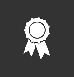 Badge with ribbon icon in flat style on black vector