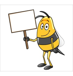 bee holding a blank sign vector image