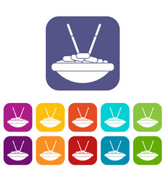 bowl of rice with chopsticks icons set vector image