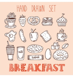 Collection of various sketches food and doodles vector image vector image