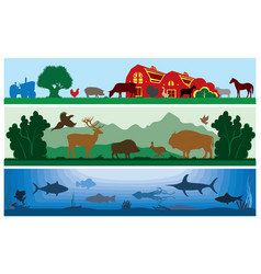 set of black and white landscapes wildlife vector image vector image
