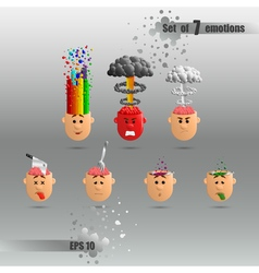 3D set of brain emotions vector image