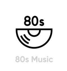 80s music record icon vector image