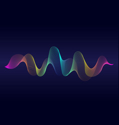 abstract wavy lines surface with rainbow color on vector image