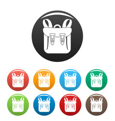 Adventure backpack icons set color vector