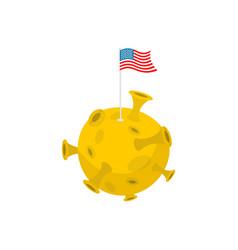america flag on moon usa banner on yellow planet vector image