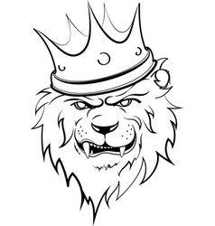 angry lion king in lines vector image