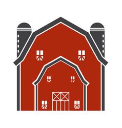 Barn house or farmhouse with pole barns flat vector